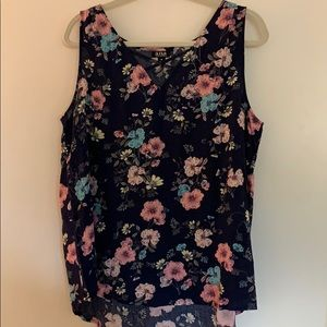 Navy blue and floral print tank top